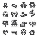 Ícones da silhueta da caridade ilustração royalty free