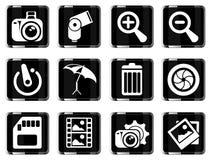 Ícones da silhueta da fotografia Foto de Stock Royalty Free
