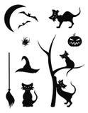 Ícones da silhueta de Halloween Imagens de Stock