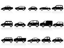 Ícones da silhueta do carro ilustração stock