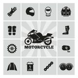 Ícones da silhueta dos acessórios da motocicleta das peças de Moto ajustados Fotos de Stock Royalty Free