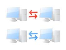 Ícones da sincronização do computador Fotografia de Stock