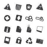 Ícones da site e do computador da silhueta Imagens de Stock