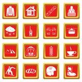 Ícones da snowboarding ajustados vermelhos ilustração stock