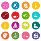 Ícones da snowboarding grupo de muitas cores ilustração stock