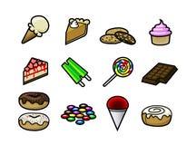 Ícones da sobremesa ilustração stock