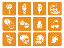 Ícones da sobremesa do alimento Fotos de Stock