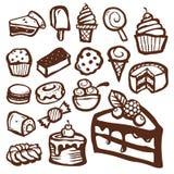 Ícones da sobremesa e do cozimento Imagem de Stock Royalty Free