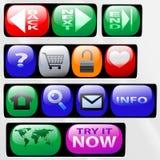 Ícones da tecla do painel de controle Fotos de Stock