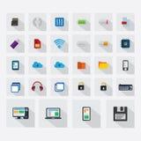 Ícones da tecnologia ajustados para a Web app Fotografia de Stock