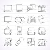 Ícones da tecnologia de uma comunicação e da conexão Fotografia de Stock Royalty Free