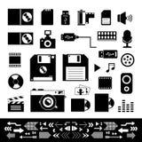 Ícones da tecnologia e do armazenamento ajustados Fotografia de Stock