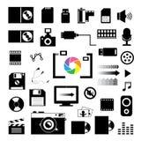 Ícones da tecnologia e do armazenamento ajustados Imagens de Stock