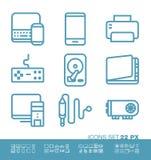 Ícones da tecnologia e do hardware Fotografia de Stock Royalty Free