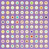 100 ícones da tecnologia espacial ajustados no estilo dos desenhos animados Imagem de Stock Royalty Free