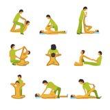Ícones da terapia dos termas da massagem Imagens de Stock
