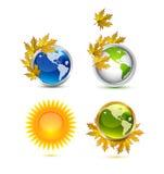 Ícones da terra do outono Ilustração do Vetor