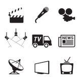 Ícones da tevê Imagens de Stock