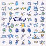 Ícones da tração da mão do curso O ícone alinhou a coleção dos desenhos animados sobre a aventura, atividades exteriores, praia,  ilustração stock