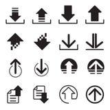 Ícones da transferência da transferência de arquivo pela rede ajustados Imagens de Stock Royalty Free