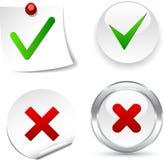 Ícones da validação. Fotos de Stock
