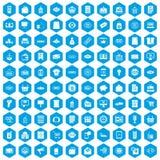 100 ícones da venda ajustados azuis ilustração royalty free