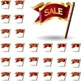 Ícones da venda e da compra em bandeiras Fotos de Stock Royalty Free