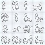 Ícones da vida familiar ajustados Foto de Stock Royalty Free