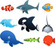 Ícones da vida marinha Imagens de Stock Royalty Free