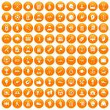 100 ícones da vitória ajustados alaranjados ilustração do vetor