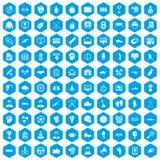 100 ícones da vitória ajustados azuis ilustração stock