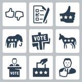 Ícones da votação e da política do vetor Imagens de Stock Royalty Free