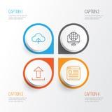 Ícones da Web ajustados Coleção da transferência de arquivo pela rede, global, do Web site e dos outros elementos Igualmente incl Imagem de Stock