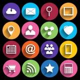 Ícones da Web ajustados no projeto liso Foto de Stock Royalty Free