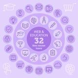 Ícones da Web & da educação Foto de Stock Royalty Free