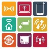 Ícones da Web da tecnologia sem fios ajustados Fotografia de Stock