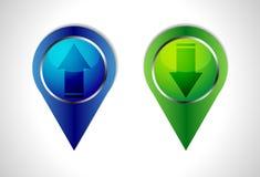 Ícones da Web da transferência e da transferência de arquivo pela rede, botões Fotografia de Stock Royalty Free