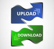 Ícones da Web da transferência e da transferência de arquivo pela rede, botões Imagens de Stock Royalty Free