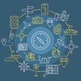 Ícones da Web do esboço da navegação ajustados Imagem de Stock