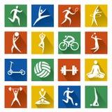 Ícones da Web do esporte com sombra longa Fotos de Stock Royalty Free