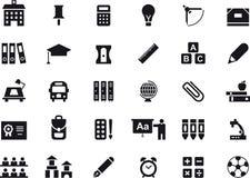 Ícones da Web do glyph da escola e da educação ilustração stock