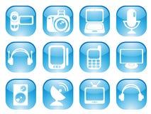 Ícones da Web dos meios Imagem de Stock