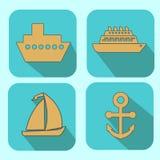 Ícones da Web dos navios ajustados Foto de Stock Royalty Free