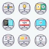 Ícones da Web para o estúdio da Web Design web, estilo liso do design web responsivo Vetor Imagens de Stock Royalty Free