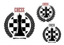 Ícones da xadrez com rainhas pretas Fotografia de Stock Royalty Free