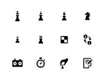 Ícones da xadrez no fundo branco Fotografia de Stock Royalty Free