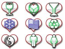 Ícones dados forma coração do Web Imagens de Stock Royalty Free
