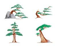 Ícones das árvores fotografia de stock
