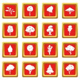 Ícones das árvores ajustados vermelhos Fotografia de Stock