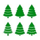 Ícones das árvores de Natal ajustados Vetor Fotografia de Stock